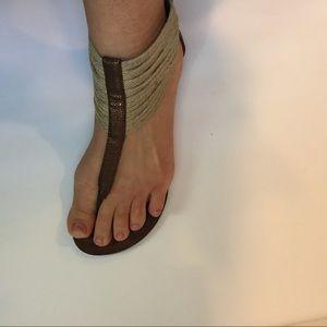 Raffia Straw zip back thong sandals flats bronze 9